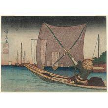渓斉英泉: Fishing for Whitebait in the Bay off Tsukuda (Tsukuda oki no shirauo-tori, below), from the series Floral Calendar of the Eastern Capital (Tôto hana-goyomi) - ボストン美術館