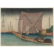 Keisai Eisen: Fishing for Whitebait in the Bay off Tsukuda (Tsukuda oki no shirauo-tori, below), from the series Floral Calendar of the Eastern Capital (Tôto hana-goyomi) - Museum of Fine Arts