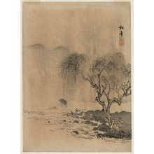 Suzuki Shônen: Landscape: Willow Tree and Fisherman with Net - ボストン美術館