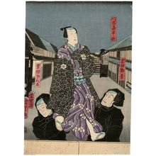 Utagawa Kunisada II: Actors Arashi Kangorô I as Yoshida Kango (right), Nakamura Fukusuke I as a Puppet of Yaoya Hanbei (above), and Nakamura Kangorô I as Yoshida Kanta (left) - Museum of Fine Arts