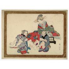 Katsukawa Shungyo: Courtesan Watching Clients Foot-wrestling - ボストン美術館