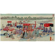 Kojima Shôgetsu: Travel during the Rule of the Shoguns: Crossing a River (Bakufu dôchû kawagoe no zu), from the series Eastern Brocades: a Look at the Old Days (Kanko Azuma nishishi) - Museum of Fine Arts