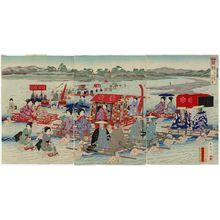 Kojima Shôgetsu: Travel during the Rule of the Shoguns: Crossing a River (Bakufu dôchû kawagoe no zu), from the series Eastern Brocades: a Look at the Old Days (Kanko Azuma nishishi) - ボストン美術館