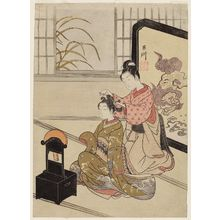 鈴木春信: Autumn Moon of the Mirror Stand, from the series Eight Views of the Parlor (Zashiki hakkei) - ボストン美術館