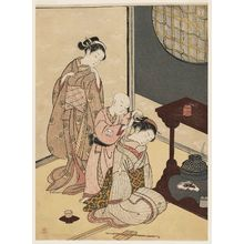 Suzuki Harunobu: Night Rain of the Tea Stand, from the series Eight Views of the Parlor (Zashiki hakkei) - Museum of Fine Arts