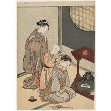 Suzuki Harunobu: Night Rain of the Tea Stand, from the series Eight Views of the Parlor (Zashiki hakkei) - Museum of Fine Arts