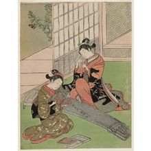 Suzuki Harunobu: Descending Geese of the Koto Bridges, from the series Eight Views of the Parlor (Zashiki hakkei) - Museum of Fine Arts