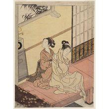鈴木春信: Evening Bell of the Clock, from the series Eight Views of the Parlor (Zashiki hakkei) - ボストン美術館