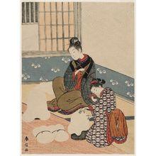 鈴木春信: Twilight Snow of the Floss-stretching Form, from the series Eight Views of the Parlor (Zashiki hakkei) - ボストン美術館