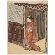鈴木春信: Woman Holding a Branch of Yamabuki (Parody of the Story of Ôta Dôkan) - ボストン美術館