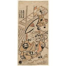 鳥居清信: Actors Ichimura Takenojô, Fujimura Handayû, and Sanjô Kantarô - ボストン美術館