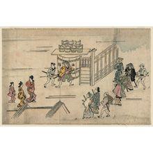 菱川師宣: The Entrance to Ageya-machi, from the series Scenes in the Yoshiwara (Yoshiwara no tei) - ボストン美術館