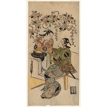 鳥居清信: Actors Ichikawa Monnosuke I as Karigane Bunshichi, and Dekijima Daisuke - ボストン美術館
