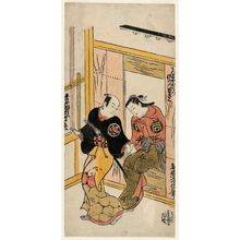 Torii Kiyonobu II: Actors Ichimura Takenojô as Hiranoya Tokubei and Sanogawa Mangiku as Tenmaya Ohatsu - Museum of Fine Arts