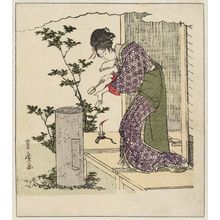 Utagawa Toyohiro: Woman Washing Her Hands, from an untitled series of a day in the life of a geisha - Museum of Fine Arts