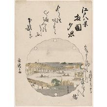 歌川豊広: Sunset Glow at Ryôgoku Bridge (Ryôgoku sekishô), from the series Eight Views of Edo (Edo hakkei) - ボストン美術館