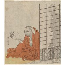 Utagawa Toyohiro: Daruma Looking in a Mirror at the Reflection of a Woman behind HIm - Museum of Fine Arts