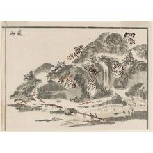 北尾政美: Arashiyama, cut from a page of the book Sansui ryakuga shiki (Landscape Sketches) - ボストン美術館