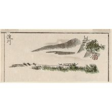 北尾政美: The Yodo River (Yodogawa), cut from a page of the book Sansui ryakuga shiki (Landscape Sketches) - ボストン美術館
