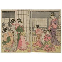 Kitagawa Utamaro: Three Drunken Courtesans, a Triptych: the Angry Drunk, the Weepy Drunk, the Giggly Drunk (Keisei sannin yoi, sanpuku no uchi: haratate jôgo, naki jôgo, warai jôgo) - Museum of Fine Arts