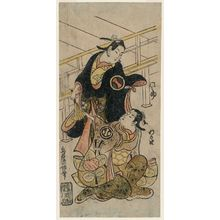 鳥居清倍: Actors Ichikawa Monnosuke I and Arashi Wakano I - ボストン美術館