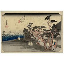 Utagawa Hiroshige: Ôiso: Tora's Rain (Ôiso, Tora ga ame), from the series Fifty-three Stations of the Tôkaidô Road (Tôkaidô gojûsan tsugi no uchi), also known as the First Tôkaidô or Great Tôkaidô - Museum of Fine Arts