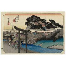 歌川広重: Fujisawa: The Yûgyô-ji Temple (Fujisawa, Yugyô-ji), from the series Fifty-three Stations of the Tôkaidô Road (Tôkaidô gojûsan tsugi no uchi), also known as the First Tôkaidô or Great Tôkaidô - ボストン美術館