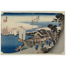 歌川広重: Shinagawa: Sunrise (Shinagawa, hinode), from the series Fifty-three Stations of the Tôkaidô Road (Tôkaidô gojûsan tsugi no uchi), also known as the First Tôkaidô or Great Tôkaidô - ボストン美術館