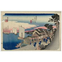 Utagawa Hiroshige: Shinagawa: Sunrise (Shinagawa, hinode), from the series Fifty-three Stations of the Tôkaidô Road (Tôkaidô gojûsan tsugi no uchi), also known as the First Tôkaidô or Great Tôkaidô - Museum of Fine Arts