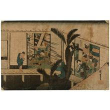 Utagawa Hiroshige: Akasaka: Inn with Serving Maids (Akasaka, ryosha shôfu no zu), from the series Fifty-three Stations of the Tôkaidô (Tôkaidô gojûsan tsugi no uchi), also known as the First Tôkaidô or Great Tôkaidô - Museum of Fine Arts