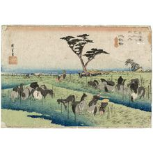 歌川広重: Chiryû: Early Summer Horse Fair (Chiryû, shuka uma ichi), first (?) state, from the series Fifty-three Stations of the Tôkaidô (Tôkaidô gojûsan tsugi no uchi), also known as the First Tôkaidô or Great Tôkaidô - ボストン美術館