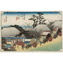 歌川広重: Ôtsu: Hashirii Teahouse (Ôtsu, Hashirii chaya), second state, from the series Fifty-three Stations of the Tôkaidô Road (Tôkaidô gojûsan tsugi no uchi), also known as the First Tôkaidô or Great Tôkaidô - ボストン美術館