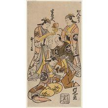 Torii Kiyotada I: Actors, clockwise from upper right: Sanjô Kantarô, Ichimura Takenojô, Ichimura Tamakashiwa, Fujimura Handayû - Museum of Fine Arts