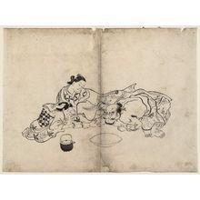 Okumura Masanobu: An Oiran Watching A Trial Of Strength Between Her Kamuro And Kinpira The Fabulous Strong Man - Museum of Fine Arts