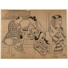 Okumura Masanobu: Oiran and Lover and Book Peddler - Museum of Fine Arts