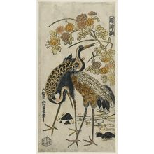 Nishimura Shigenaga: Cranes and Chrysanthemums, from the series Kashinsai - Museum of Fine Arts