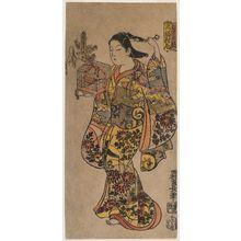 西村重長: The Style of a Girl, Left Sheet of a Triptych (Musume-fû, sanpukutsui hidari) - ボストン美術館