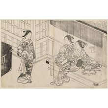 西川祐信: Two Courtesans Seated On A Bench ; Another Woman Coming Towards Them - ボストン美術館