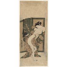 石川豊信: Woman Dressing after Bath - ボストン美術館