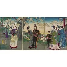 豊原周延: Illustration of an Excursion to Asuka Park (Asuka-en yûran no zu) - ボストン美術館