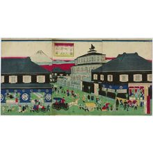 Utagawa Yoshitora: An Accurate Picture of the Mitsui Building at Suruga-chô in Tôkyô (Tôkyô Suruga-chô Mitsui shôsha no zu) - Museum of Fine Arts