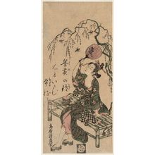 鳥居清廣: Young Woman Catching Fireflies on a Fan - ボストン美術館