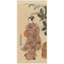Torii Kiyotsune: Actor Onoe Kikugorô as a Girl with Battledore and Shuttlecock at New Year - Museum of Fine Arts