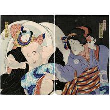 豊原国周: Actors Bandô Mitsugorô (R) and Nakamura Shikan (L) - ボストン美術館