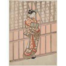 Ishikawa Toyonobu: Courtesan Standing in Front of a Building - Museum of Fine Arts
