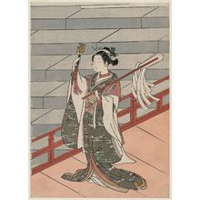 Suzuki Harunobu: Shinto Priestess (Miko) Dancing at a Shrine - Museum of Fine Arts
