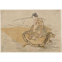 Suzuki Harunobu: Young Woman Riding a Turtle (Parody of the Story of Urashima Tarô), first state - Museum of Fine Arts