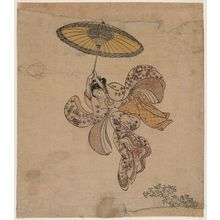Suzuki Harunobu: Young Woman Jumping from the Kiyomizu Temple Balcony with an Umbrella as a Parachute - Museum of Fine Arts