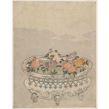 鈴木春信: Potted Chrysanthemums and Full Moon - ボストン美術館