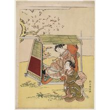 Suzuki Harunobu: Woman in a Palanquin Resting under a Cherry Tree - Museum of Fine Arts